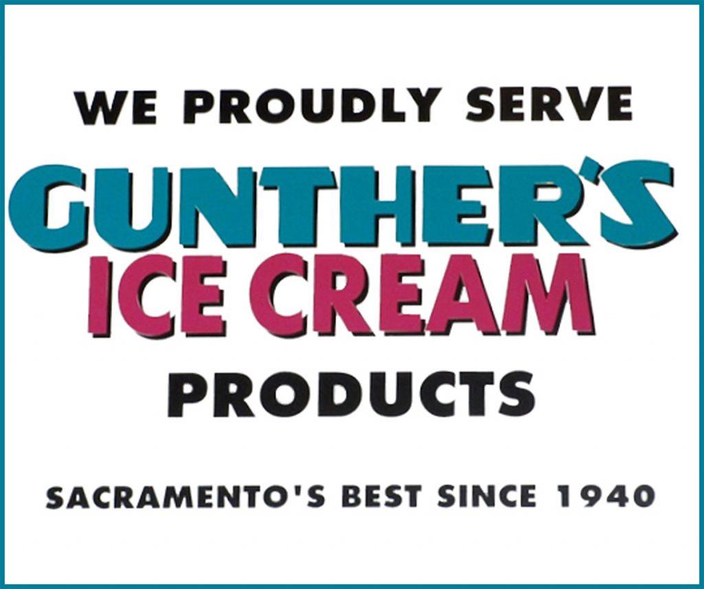 We Proudly Serve gunther's Ice Cream!
