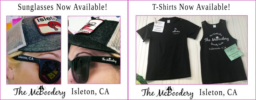 McBoodery Sunglasses and T-Shirts available.
